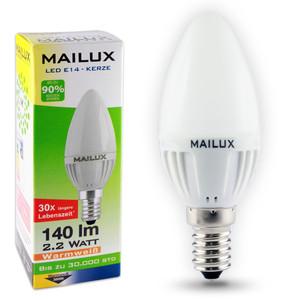 MAILUX E14 2,2 Watt LED Kerze matt