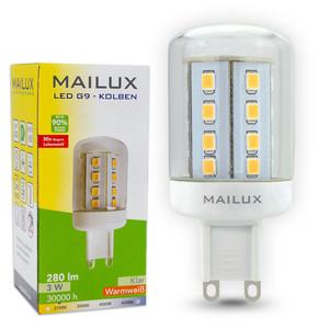 MAILUX G9N10489 LED Lampe Kolben G9 3W 280lm warmweiß 2700K ersetzt ca. 25W – Bild 1