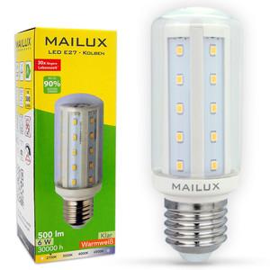MAILUX KON12568 LED Lampe E27 LED Kolben 6W klar 270° 500lm warmweiß 2700K