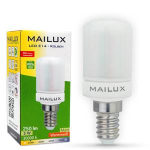 MAILUX KON19970 LED Lampe Kolben 3W E14 250lm matt 2700K 270° ersetzt ca. 25W
