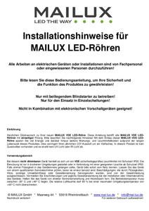 MAILUX MLXTM2043 T8 LED Röhre 830 G13 120cm 20W Matt 3000 K – Bild 2