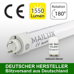 MAILUX MLXTM1543 T8 LED Röhre 830 G13 120cm 15W Matt 3000 K – Bild 1