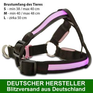 MAILUX LED Hundegeschirr Pink Gr L 13-30Kg versch. Leuchtmodi