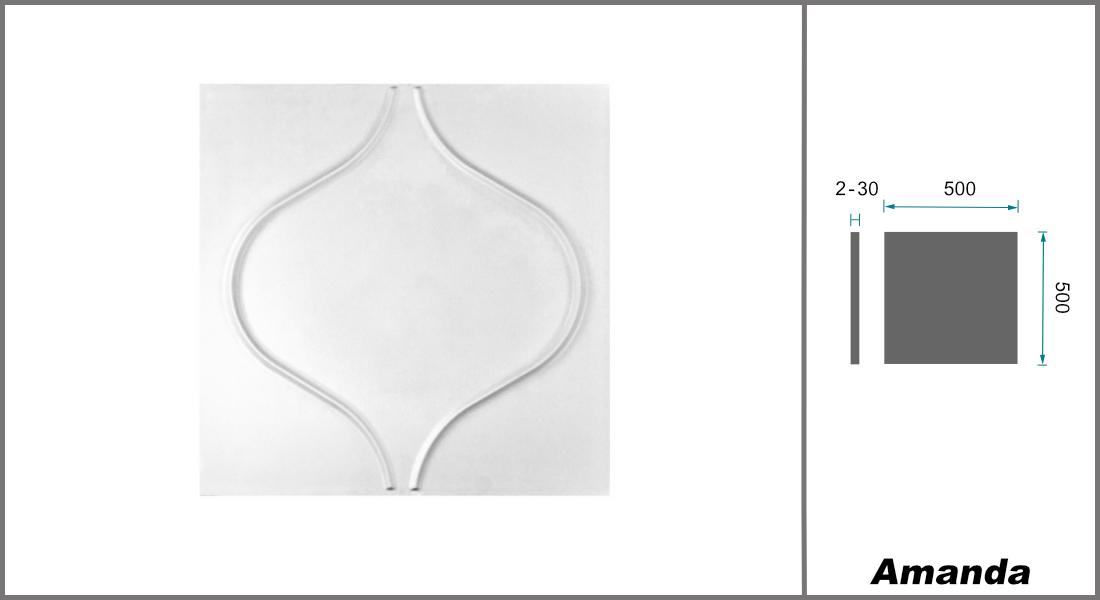 1 qm | 3D Platten | Natur | Stuck | Paneele | 50x50cm | Amanda