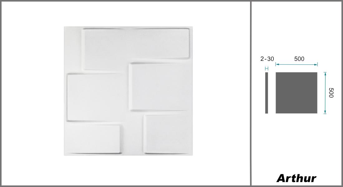 1 qm | 3D Platten | Natur | Stuck | Paneele | 50x50cm | Arthur