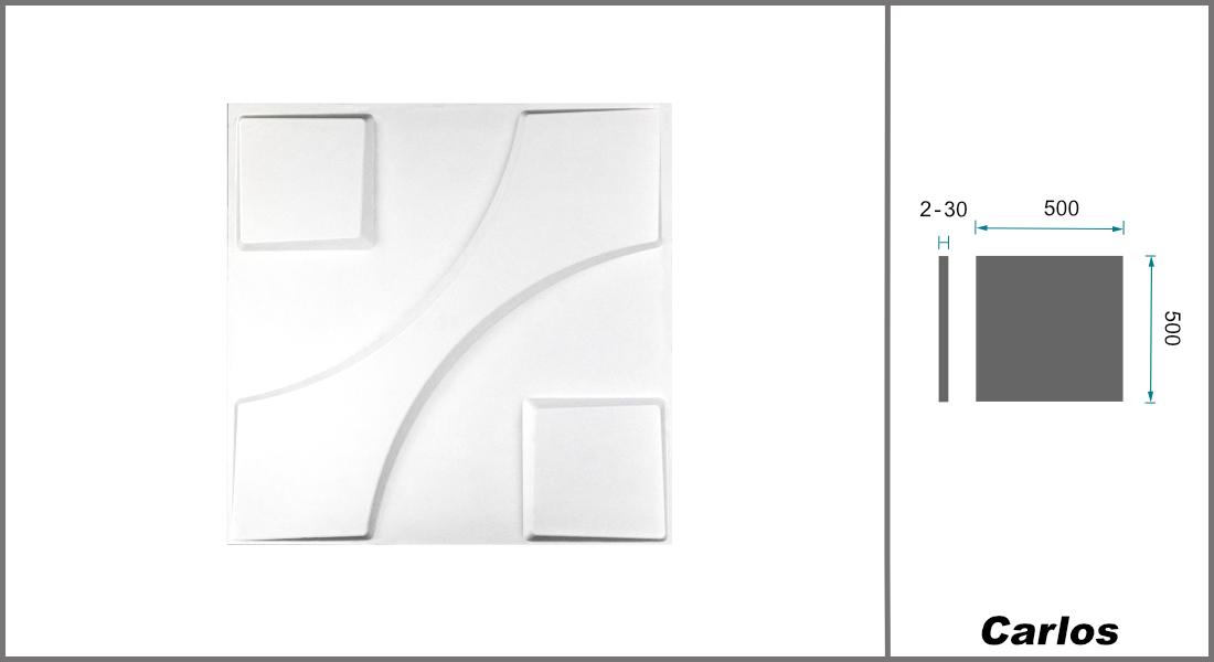 1 qm | 3D Platten | Natur | Stuck | Paneele | 50x50cm | Carlos