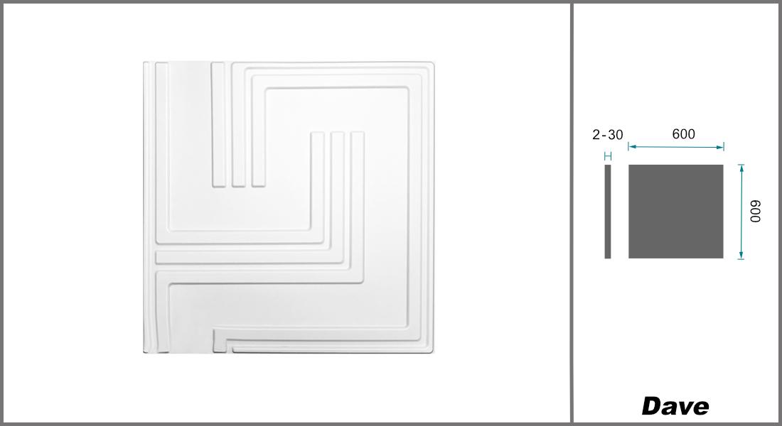 1 qm | 3D Platten | Natur | Stuck | Paneele | 60x60cm | Dave