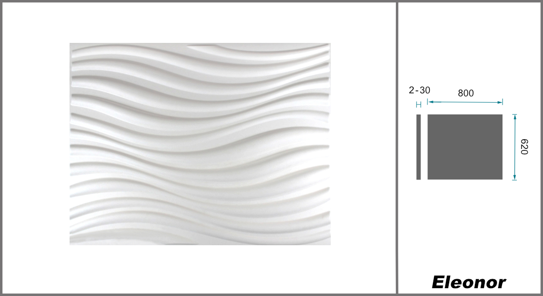1 qm | 3D Platten | Natur | Stuck | Paneele | 62x80cm | Eleanor
