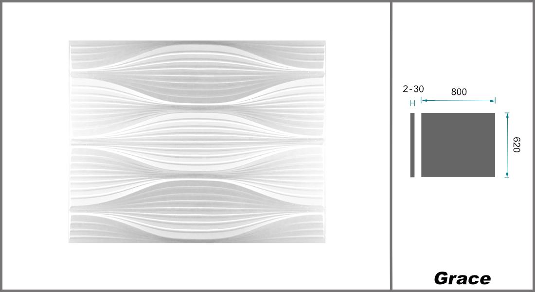 1 qm | 3D Platten | Natur | Stuck | Paneele | 62x80cm | Grace