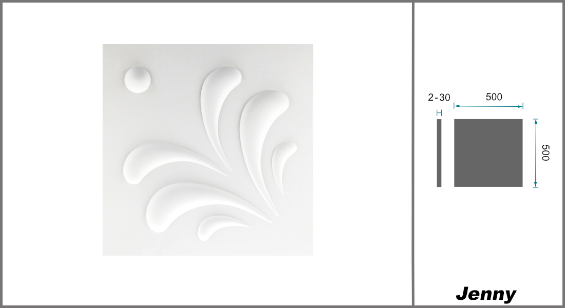 1 qm | 3D Platten | Natur | Stuck | Paneele | 50x50cm | Jenny