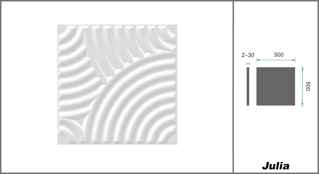 1 qm | 3D Platten | Natur | Stuck | Paneele | 50x50cm | Julia