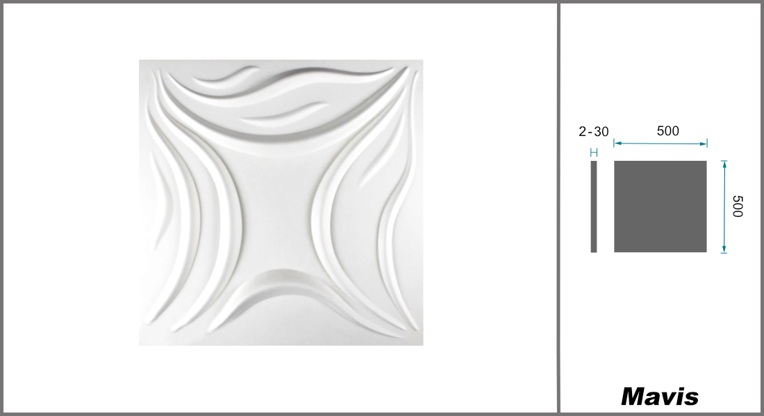 1 qm | 3D Platten | Natur | Stuck | Paneele | 50x50cm | Mavis