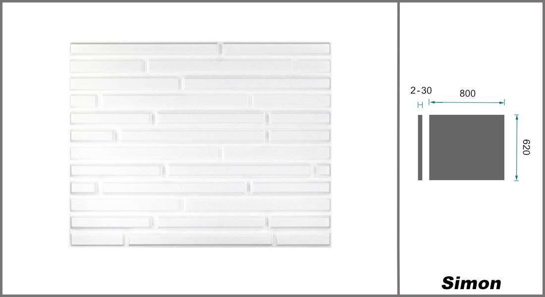 1 qm | 3D Platten | Natur | Stuck | Paneele | 62x80cm | Simon