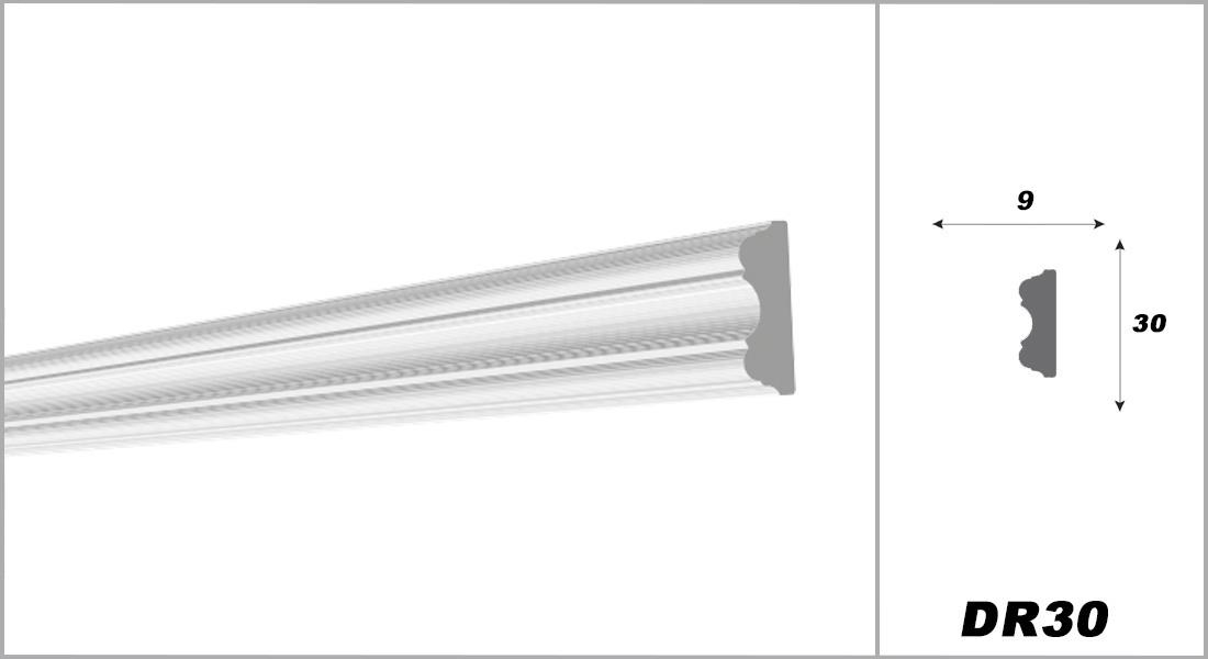 2 Meter | Flachleiste | XPS | hart | Decora | 9x30 mm | DR30