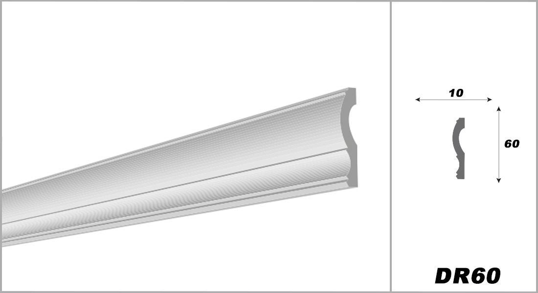 2 Meter | Flachleiste | XPS | hart | Decora | 10x60 mm | DR60