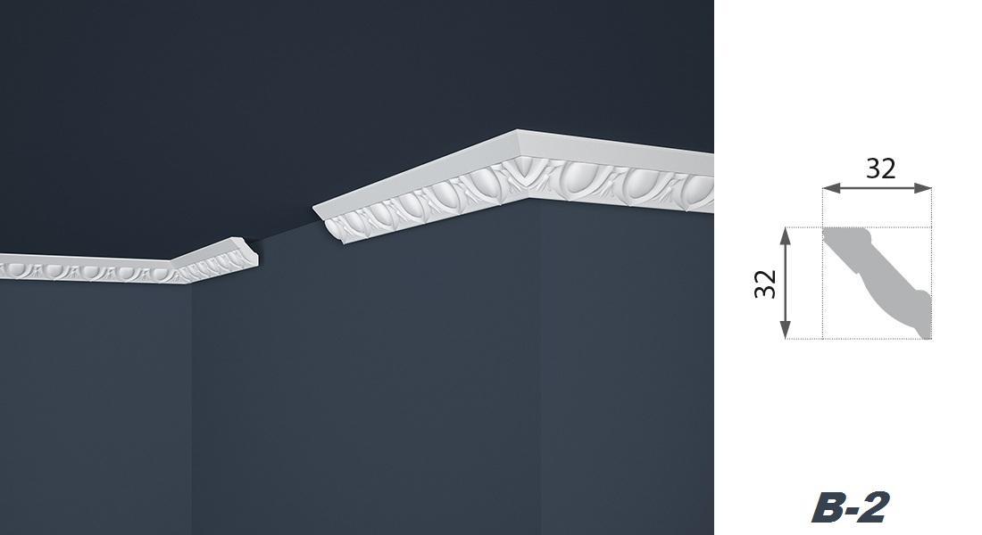 2 Meter   Stuckprofil   EPS   formfest   Marbet   32x32mm   B-2