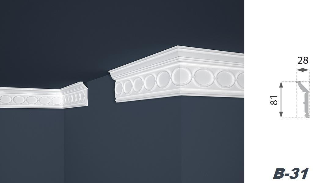 2 Meter | Stuckprofil | EPS | formfest | Marbet | 28x81mm | B-31