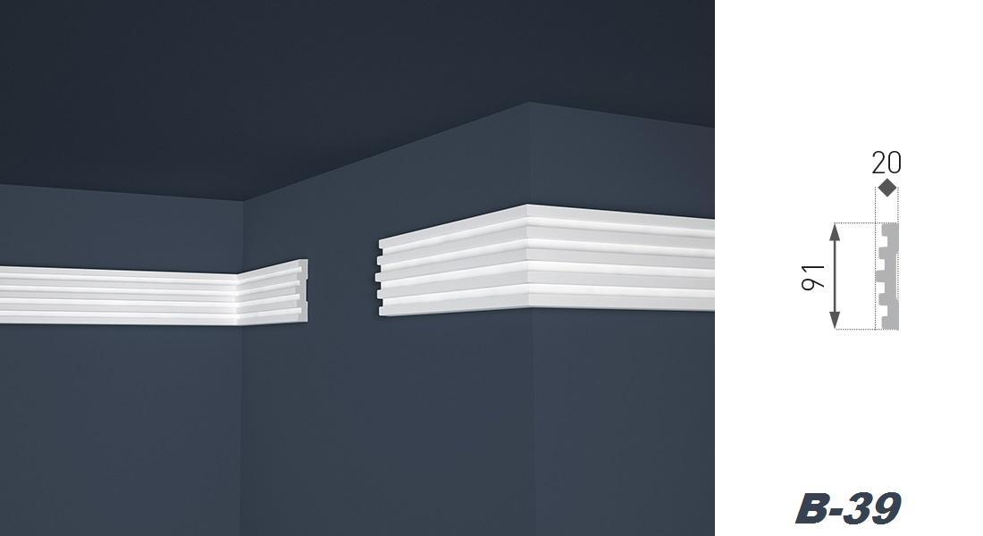 2 Meter | Flachleiste | EPS | formfest | Marbet | 20x91mm | B-39