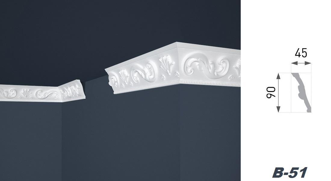 2 Meter | Stuckprofil | EPS | formfest | Marbet | 45x90mm | B-51
