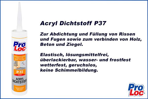1 Kartusche | Acryl Dichtungsmasse | wasser & frostfest | ProLoc | P37