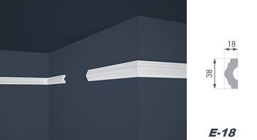 2 Meter Flachprofil Wandleiste Dekoration Stuckleiste hart 18x38mm, E-18