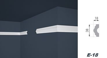 [Sparpaket] 40 Meter Flachprofile Wandleisten Dekoration Stuck hart 18x38mm, E-18