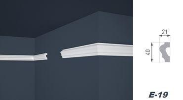 [Paket] 50 Meter Flachprofil Wandleiste Dekoration Stuckleiste hart 21x40mm, E-19