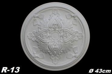[Sparpaket] 5 Rosetten Dekorrosetten Deckenrosetten Decke Wand Stuck Polystyrol Ø43cm, R-13