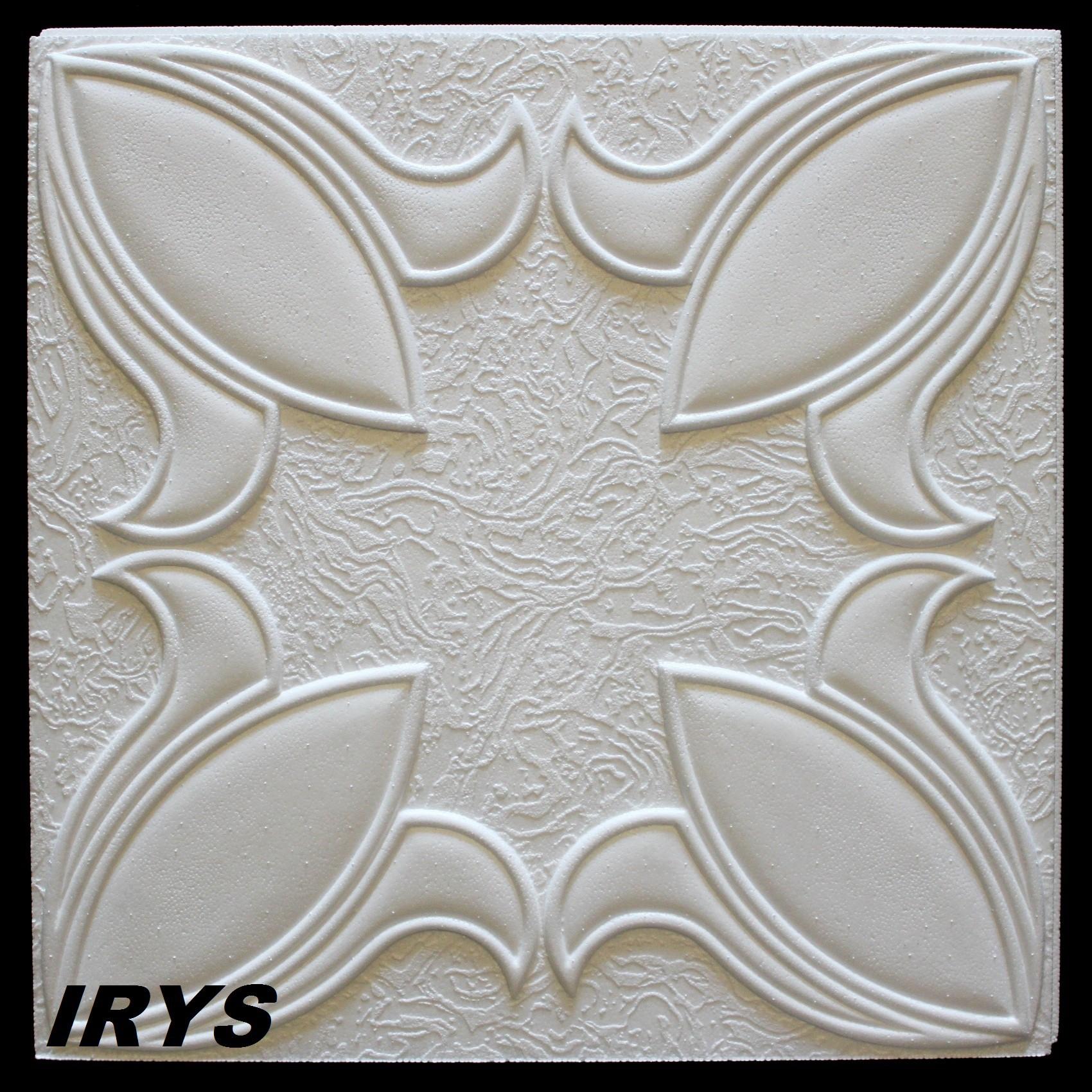 1 M2 Deckenplatten Styroporplatten Stuck Decke Dekor Platten 50x50cm, IRYS