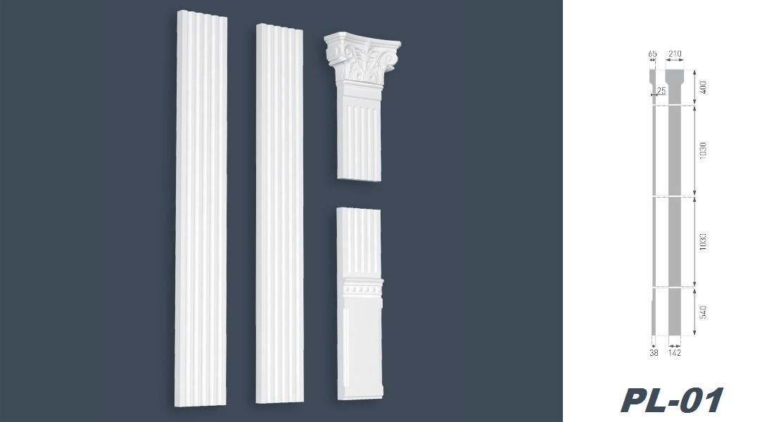 EPS formfestes Polystyrol wei/ß Pilaster Komplettset Innendekor PL-02 Stuck Flachs/äule
