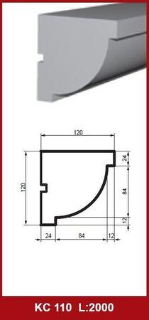 [Sparpaket] 20 Meter Fassadenprofile Dekorleisten Gesims stoßfest 120x120mm, KC110