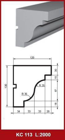 2 Meter Gesimsprofil Fassadenleiste Stuck stoßfest 130x120mm, KC113
