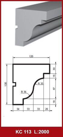 [Paket] 10 Meter Gesimsprofile Fassadenleisten Stuck stoßfest 130x120mm, KC113