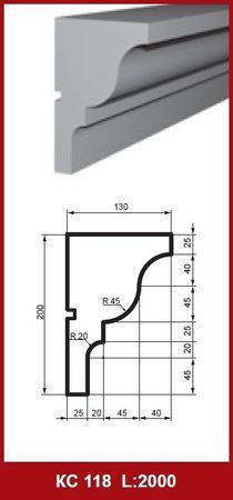[Paket] 10 Meter Gesimsprofile Fassadenleisten Dekor stoßfest 200x130mm, KC118
