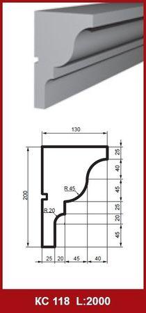 [Sparpaket] 20 Meter Gesimsprofile Fassadenleisten Dekor stoßfest 200x130mm, KC118