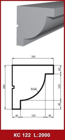 2 Meter Fassadenprofil Leiste Gesims Außen stoßfest 200x200mm, KC122