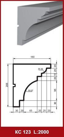 2 Meter Gesimsprofil Hausfassade Außenwand stoßfest 205x180mm, KC123