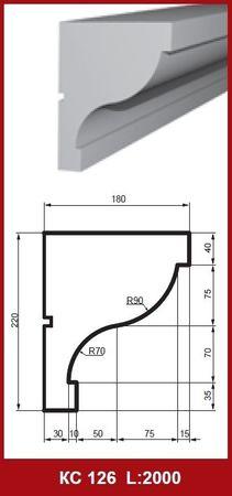 [Paket] 10 Meter Fassade Profile Außen Gesimsleisten stoßfest 220x180mm, KC126