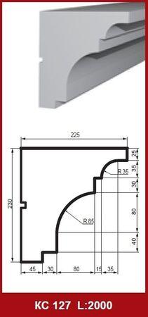 [Paket] 10 Meter Gesimsprofile Leisten Fassadendekor stoßfest 230x225mm, KC127