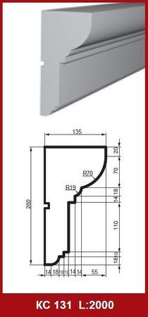 [Paket] 10 Meter Gesimsprofile Hausfassade Dekoration stoßfest 260x135mm, KC131
