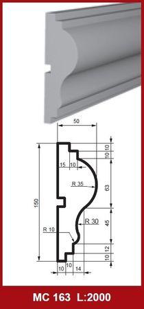 2 Meter Fassadenprofil Außen Wanddekor Haus stoßfest 150x50mm, MC163