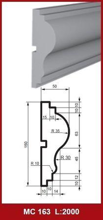 [Paket] 40 Meter Fassadenprofil Außen Wanddekor Haus stoßfest 150x50mm, MC163