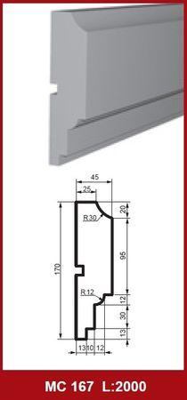 2 Meter Fassadenprofil Außendekoration Wand stoßfest 170x45mm, MC167