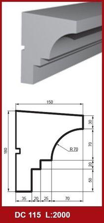 [Sparpaket] 10 Meter Fensterbankprofile Stuck Dekor Haus stoßfest 180x150mm, DC115