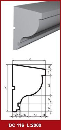 2 Meter Fensterbankleiste Profil Haus Wand stoßfest 190x130mm, DC116