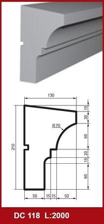 2 Meter Fensterbankprofil Hausfassade Dekor stoßfest 210x130mm, DC118