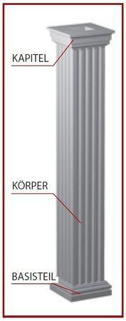 2 Meter Säule eckig Körper Säulenkörper stoßfest 255x255mm, LC110-21
