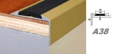 Aluprofile Stufenleiste Kante Stufe Eckleiste mit Anti-Rutsch-Gummi 30x46mm, A38