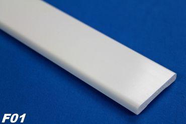 2 Meter PVC Flachprofil Kunststoff Flachleiste glatt stoßfest 6x40mm, F01