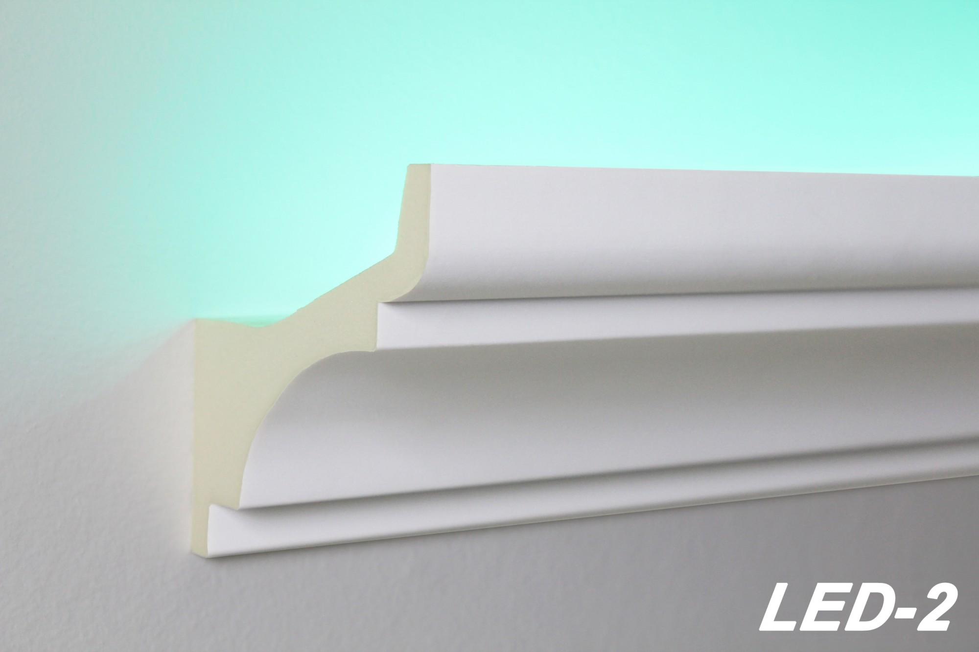 2 meter led profil pu stuckleiste indirekte beleuchtung sto fest 80x80 led 2 led stuckprofile. Black Bedroom Furniture Sets. Home Design Ideas